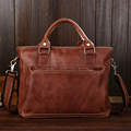 Men's Genuine Leather Handbag Totes Shoulder Bag Fashion Business Bag Attache