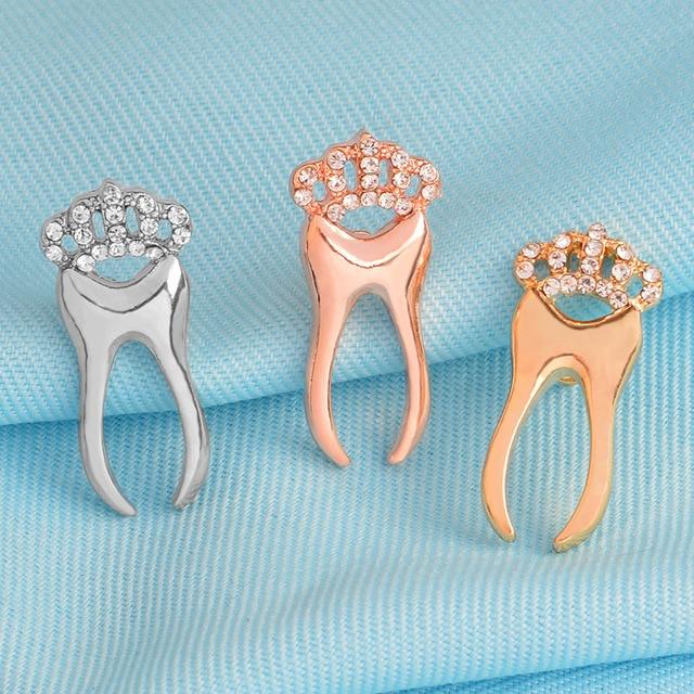 Broches de strass pinos de dente Dentista Dente jóias jóias Acessórios Mochila Pinos de Jóias coleção Presente para o doutor