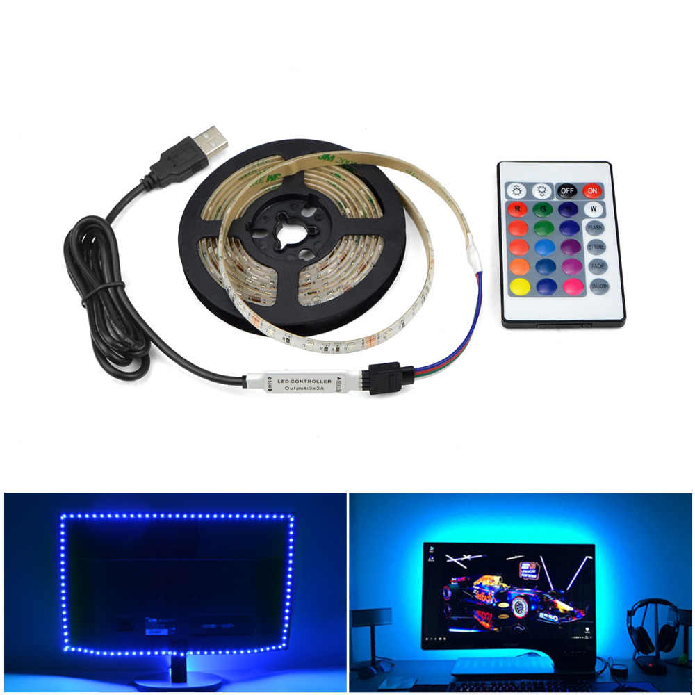 5V USB Power LED Lampu Strip RGB/Putih/Warm White 2835 3528 SMD HDTV TV PC Desktop lampu Latar Layar & Bias Lampu 1M 2M 3M 4M