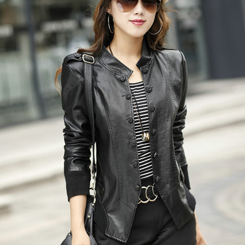 Fmasuth 3XL Plus Size Womens   Leather   Jackets Full Sleeve Ladies   Suedes   Button Black   Leather   Jacket Coat OW0089