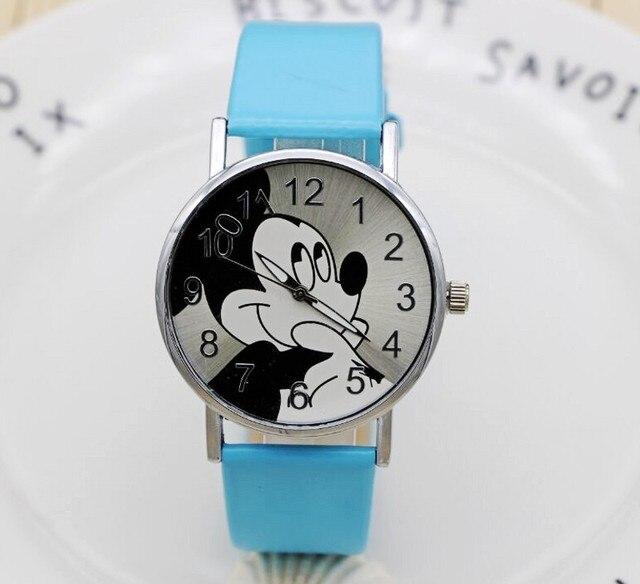 dfe34c44c32 Moda dos desenhos animados mickey mulheres relógio de Couro unisex quartz  relógio de pulso Para Crianças