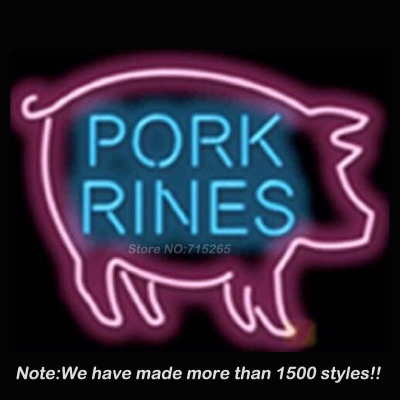 New Pork Rines Neon Sign Neon Bulbs Store Display Real Glass Tube Handcrafted Art Design Decorate Advertising GiftS 17x14