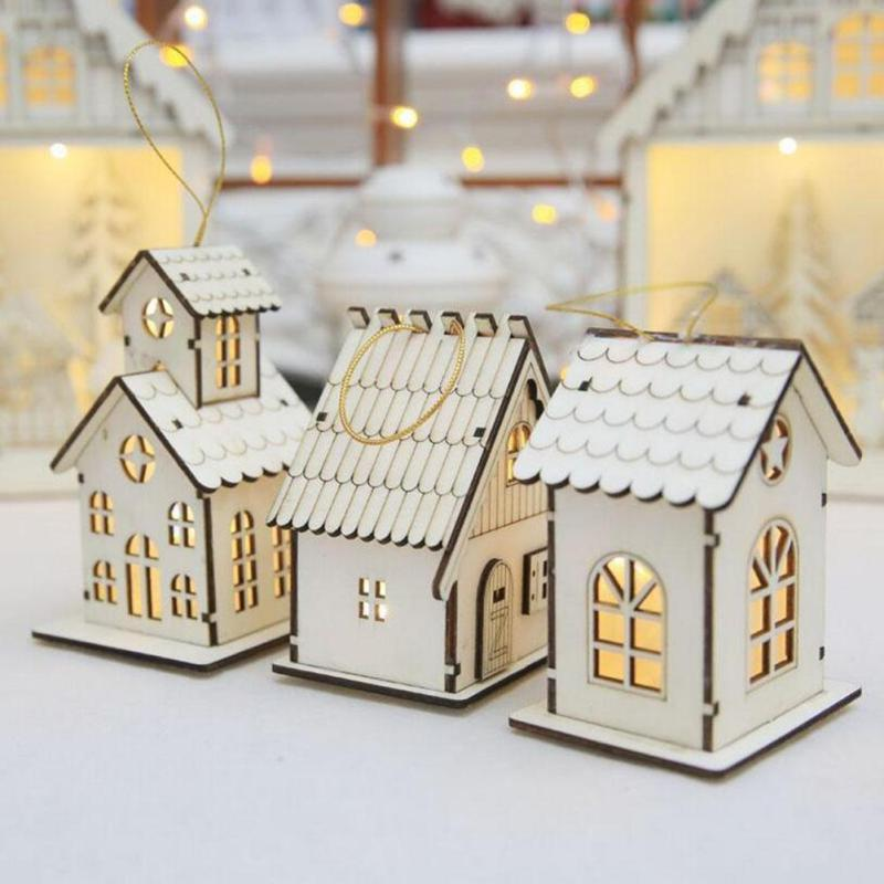 Christmas Decoration LED Lighting Small Wooden House Xmas Tree Pendants Ornaments  Christmas Party Decorations Gift 3-in Pendant u0026 Drop Ornaments from Home ...