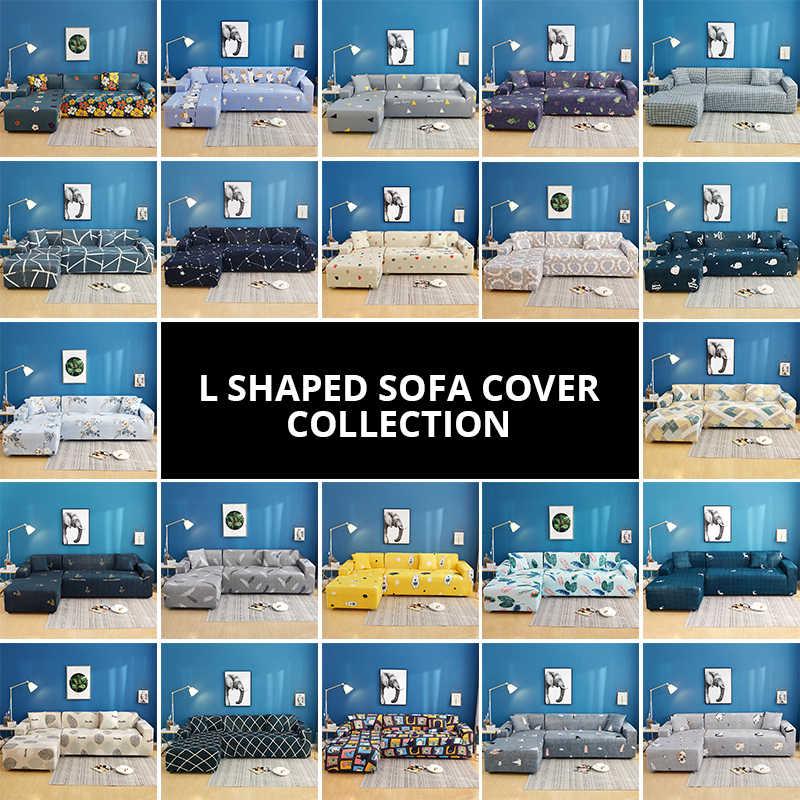 2 個カバー弾性ソファソファ断面 L 字型ソファカバー長椅子は Longue ストレッチソファ本のカバー l 型