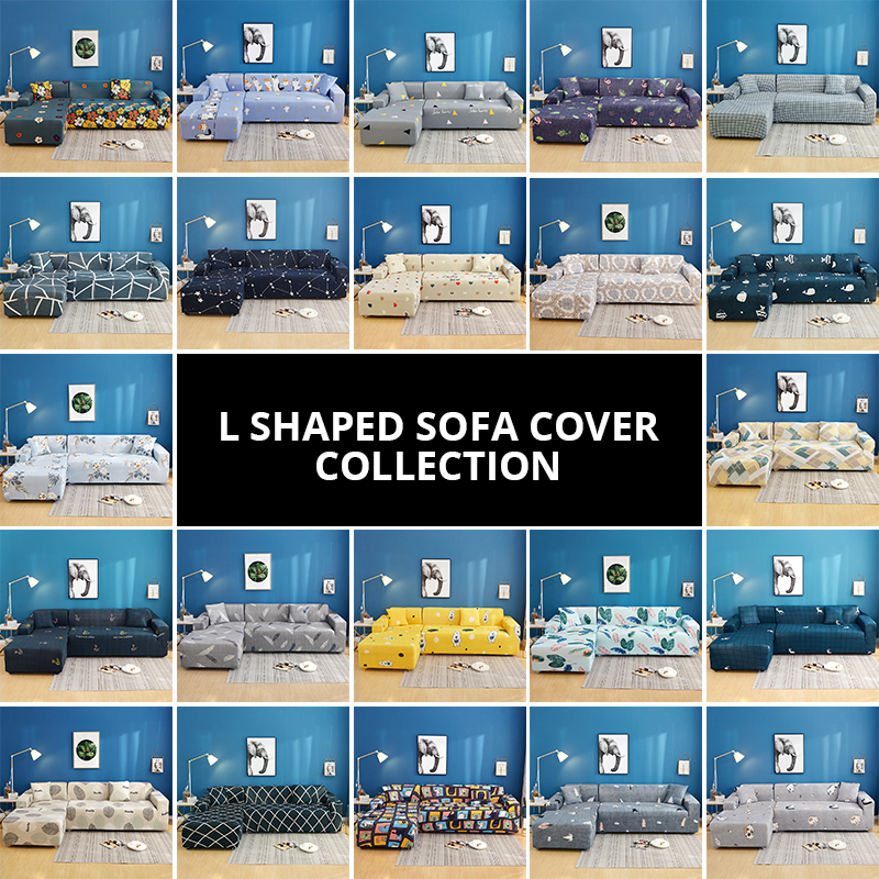 2 Pcs Elastic Couch Cover for Sectional and L Shaped Sofa Made of Spandex Material 4