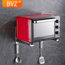 BVZ High quality stainless steel foldable microwave bracket wall-mounted oven rack kitchen storage with hook Microwave storage induction cooktop stainless steel kitchen rack floor multi layer storage rack microwave oven kitchenware storage shelf