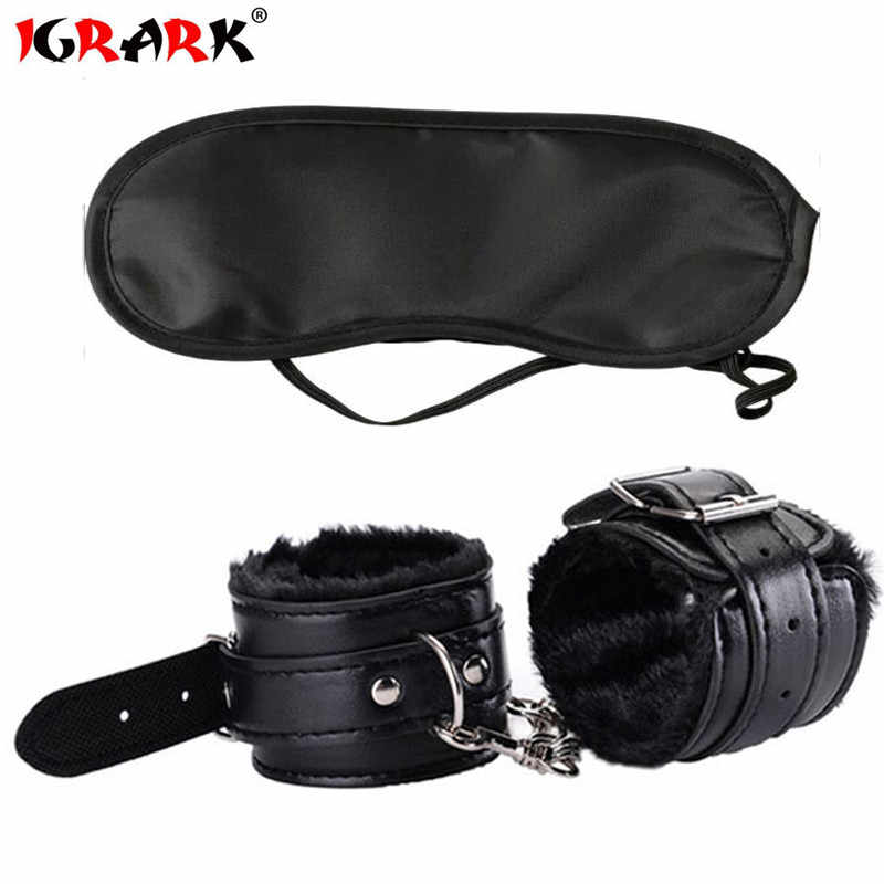 IGRARK BDSM Bondage Set Toys With Handcuffs For Sex Blindfold Eye Mask Adult Erotic Toys For Woman Exotic Accessories