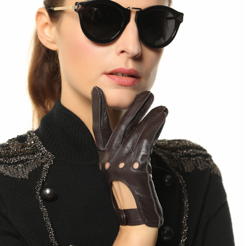 2018 NEW Fashion Women Sheepskin Gloves Genuine Leather Thin Breathable Elegant Lady Five Fingers Driving Glove L117W-5