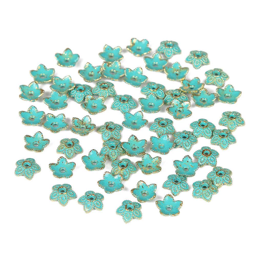 10 sztuk dużo brąz zielony śliczne 5 płatek zakrętka w kształcie kwiatu koralik paciorek do naszyjnika biżuteria akcesoria dla naszyjnik DIY bransoletka 7*7mm