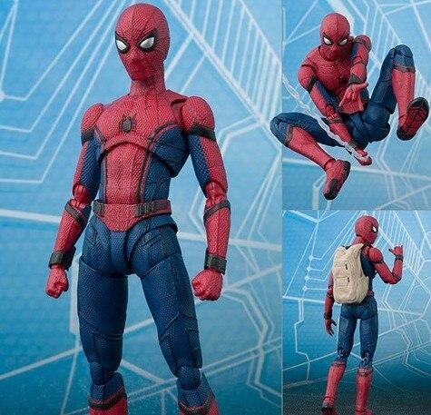Novo quente 15cm vingadores spiderman super herói homem-aranha: figura de ação do regresso a casa brinquedos boneca coleção presente de natal com caixa