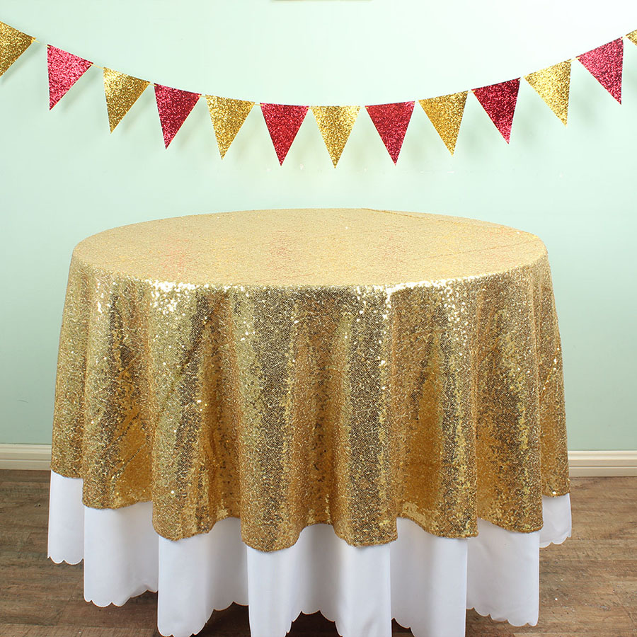 Attractive 72 Inch Round Sequin TableCloths Banquet Table Overlay Birthday Wedding  Party Event Decoration