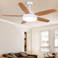 Modern Wood/acrylic Living room Ceiling Fans Lamp White Body Led 37W Remote control Restaurant Ceiling Fans With Lights Room Fan