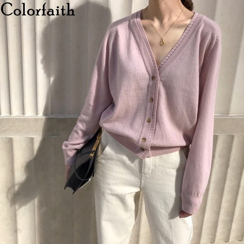 2019 Colorfaith Autumn Winter Women's Sweaters  Knitting Minimalist Cardigans Casual Solid Single Breasted Loose Pink SW7215