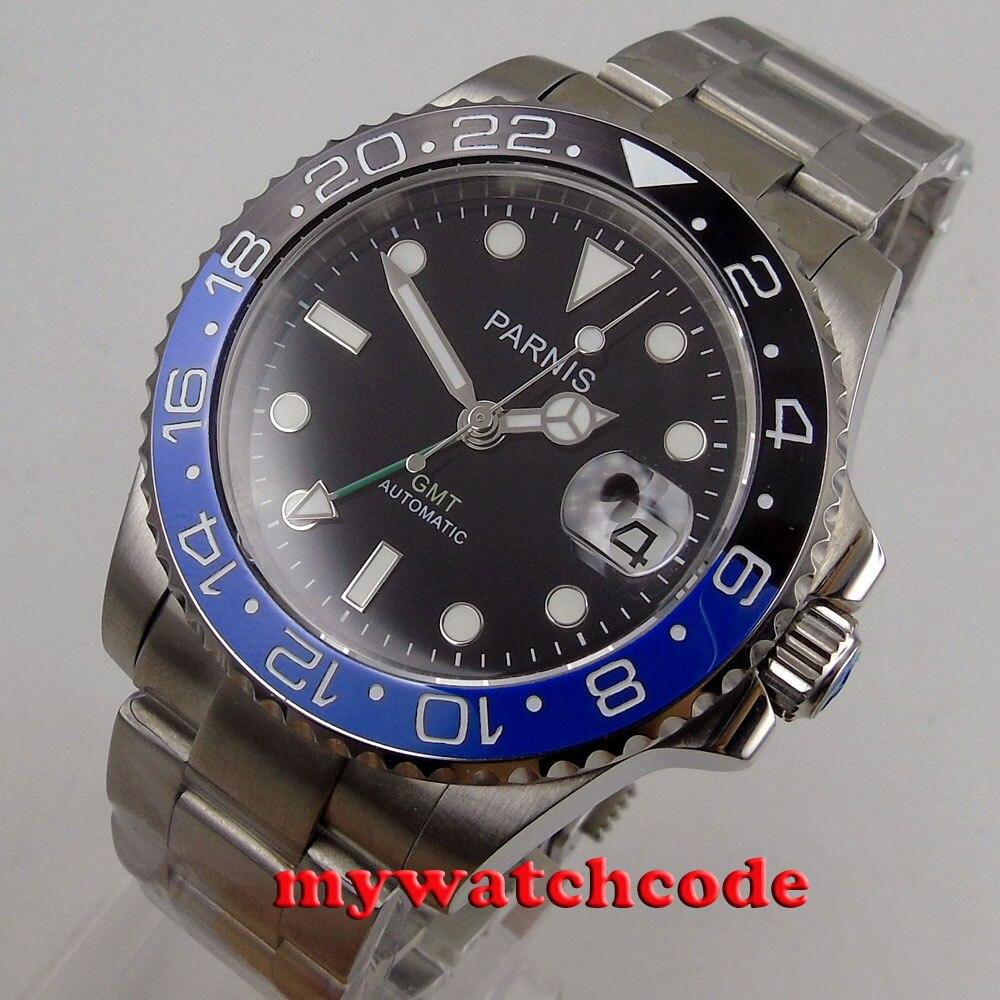 40mm parnis 블랙 다이얼 날짜 창 세라믹 베젤 gmt 자동식 남성 시계 p876-에서기계식 시계부터 시계 의  그룹 1