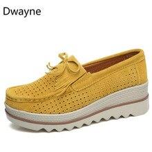 דוויין נשים דירות נעלי פלטפורמת גבירותיי אלגנטי עור אמיתי מוקסינים נעלי אישה סתיו להחליק על מקרית נעלי נשים