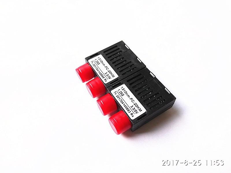2pcs/lot 10/100/1000M Dual Fiber 1x9 Optical Transceiver Module 1.25G Transceiver 20KM 1310nm FC  3.3/5V