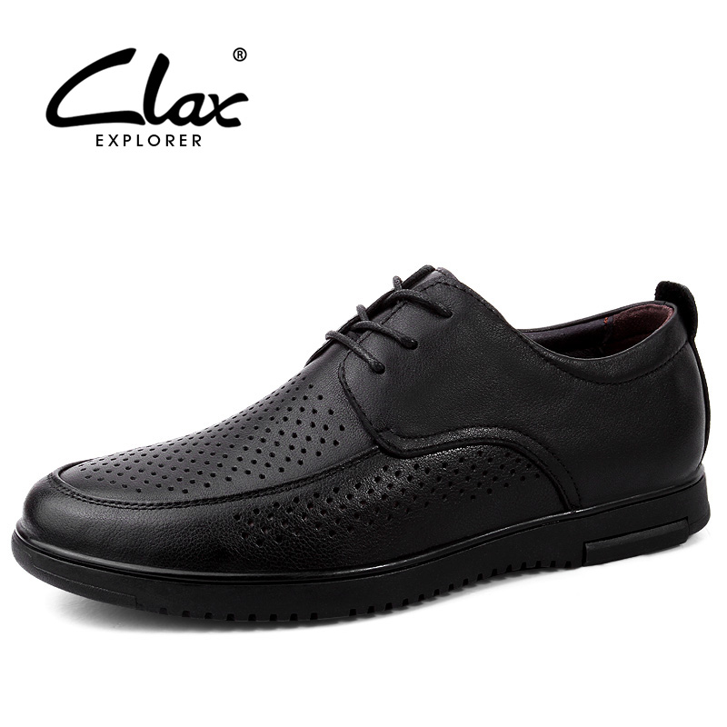 CLAX Mens Leather Dress Shoes 2019 Summer Male Formal Shoe Business Office Footwear Man Derby Shoe Hollow Designer Breathable
