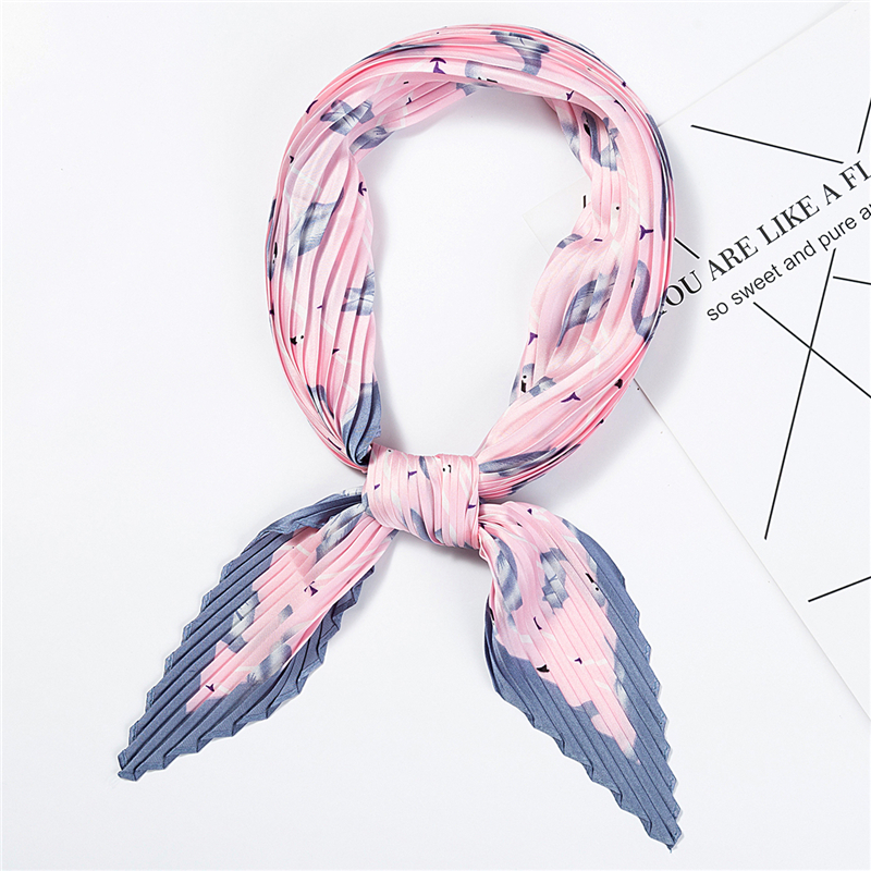 2020 Designer Women Crinkle Scarf Silk Square Scarfs For Ladies Neck Scarves Pleated Print Handkerchief Female Hair Band Tie
