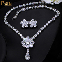 Pera High Quality AAA+ Cubic Zirconia Pave Luxury Big Sun Flower Pendant Necklace Sets For Bridal Wedding Party Accessories J255