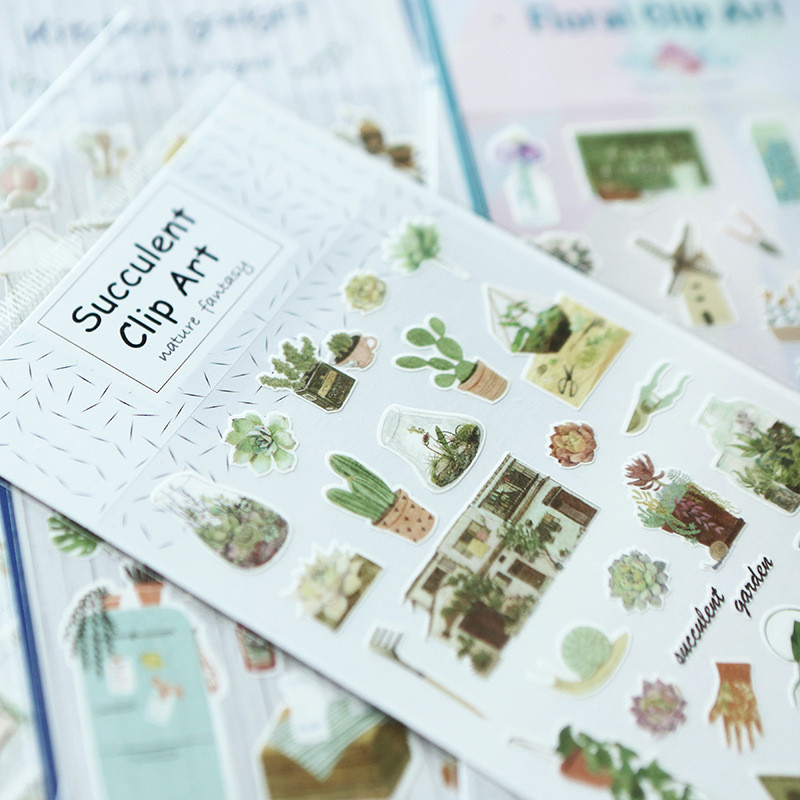 Japanese Adhesive Flower Cute Cactus Stickers Paper Handmade Stationery Store Gift Tag Scrapbooking Diary DIY Post it Album