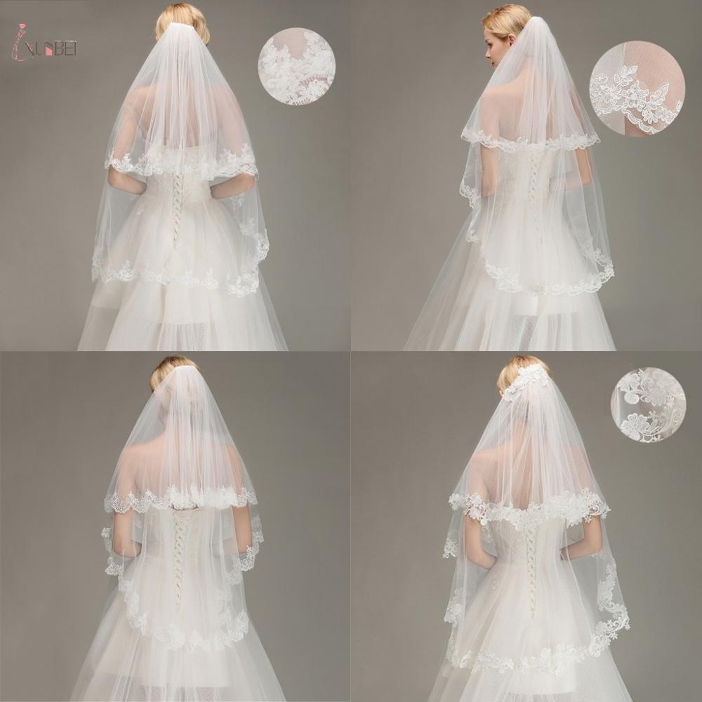 Two Layers Lace Edge Elbow Wedding Veil With Comb Short Bridal Veil White Ivory voile mariage Bride Wedding Accessories