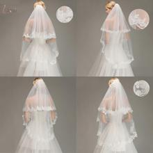 Two Layers Lace Edge Elbow Wedding Veil With Comb Short Bridal White Ivory voile mariage Bride Accessories