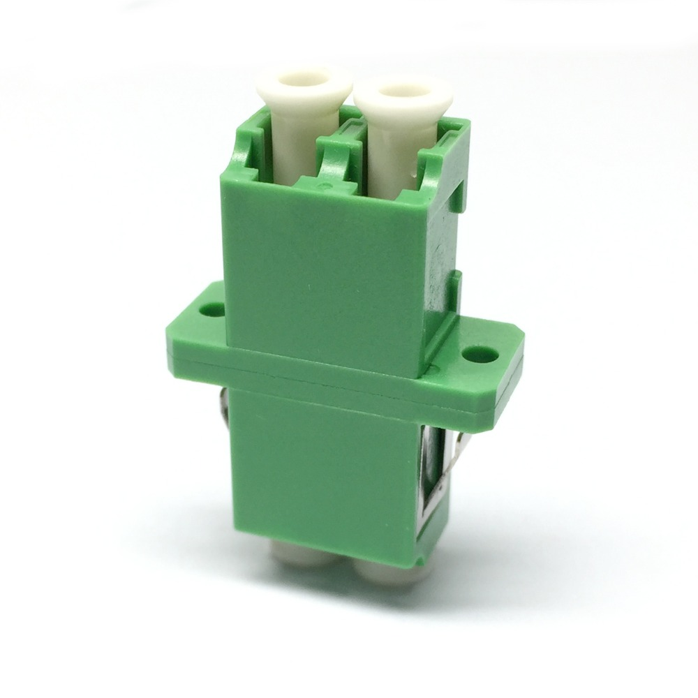50pcs LC/APC Duplex Adapter-with Flange-SM-Green-Optic Fiber