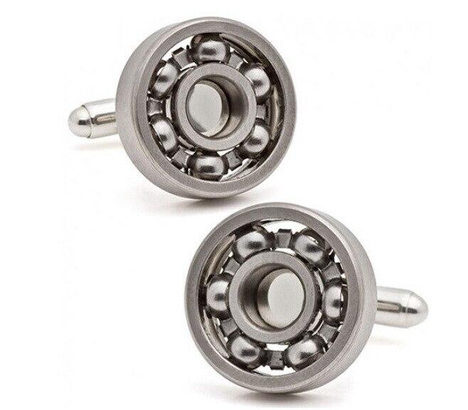 Hot sale Ball Bearing Cufflinks Functional Rotatable Diversity of Mechanic Vintage Metal Color Bearing Design Cuff Links