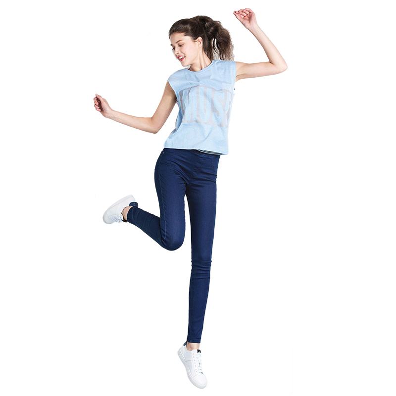 TKOH Women's Fashion Autumn Leggings Mid Waist High Elastic Full Length Pants Skinny pencil Jeans(Blue,S/US-0) autumn fashion mid waist jeans high