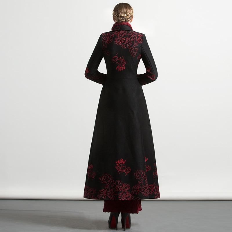 Rouge X De 2017 Chaud longue Noir Nouveau Laine Haute Hiver Mélanges Femmes Longs Qualité 4xl Plus Taille Floral Manteaux Broderie wganqUY
