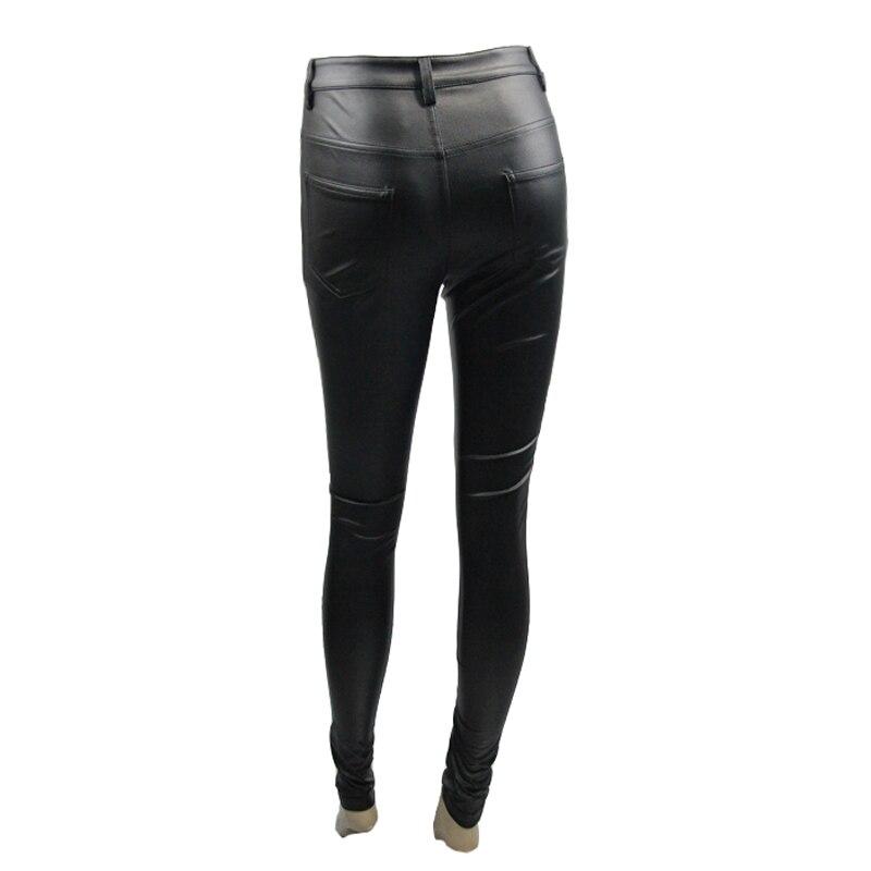 Diable mode PU cuir femmes été pantalon Steampunk solide noir élastique taille extensible Long Leggings vente chaude - 6
