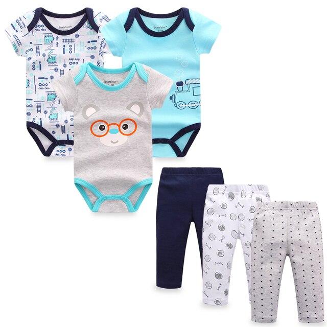 57149f176 6 peças set Menino Veste Calças Roupa Do Bebê Recém-nascido Infantil Bebes  Meninas