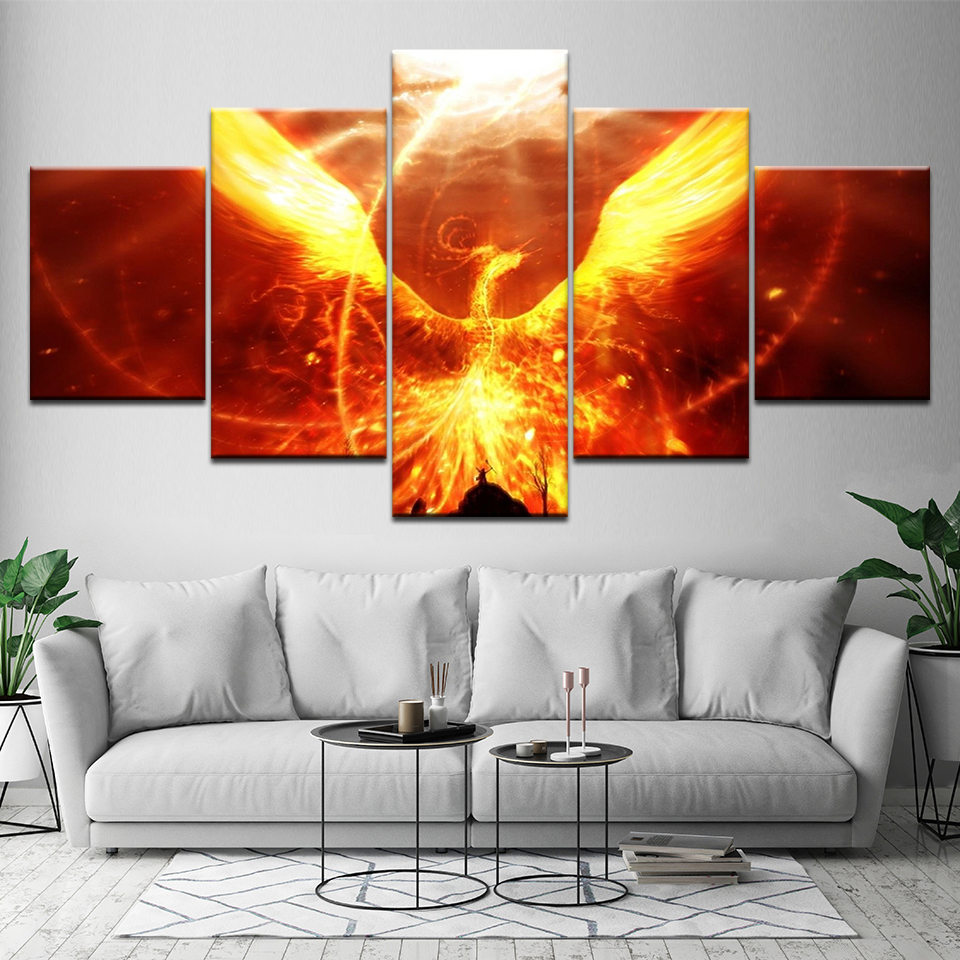 Wall Art Poster Modular Pictures Canvas 5 Pieces Fire Phoenix Framed Decor Home Living Room Modern HD Printed Abstract Paintings
