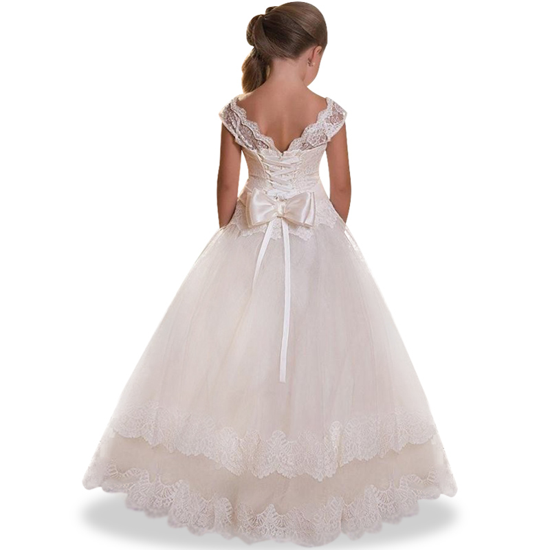 3-12 years girl Wedding flower girl dress European and American lace big Bow princess dr ...