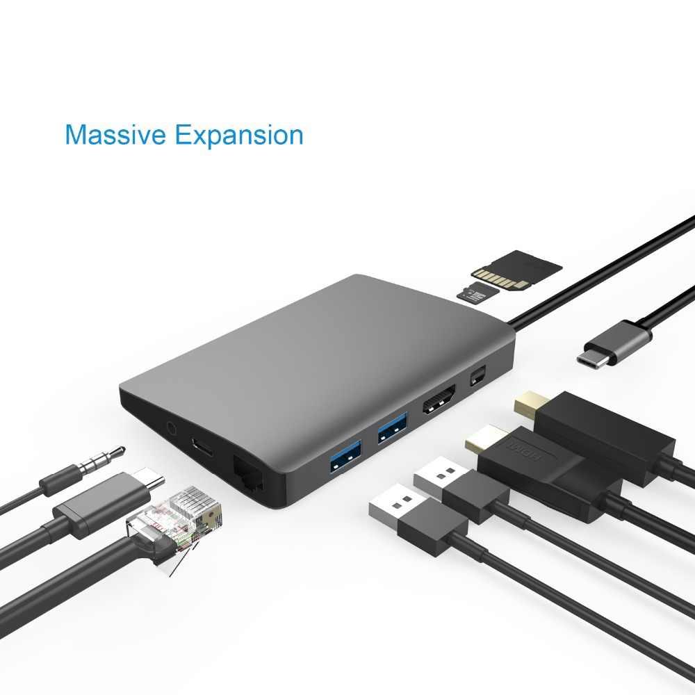 YUNCLOUD USB C 3.1 HUB để HDMI 4 k Mini DP Adapter với Gigabit Ethernet Loại C Điện Giao Hàng SD /TF Cho Samsung Galaxy S9 S8