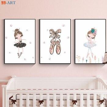 Bailarina Póster Artístico impreso lindo lienzo pintura rosa dorado púrpura arte de pared para guardería niñas imágenes para decoración para habitación regalo para niña
