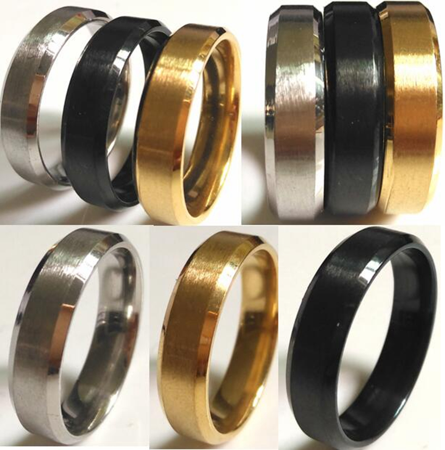 Wholesale 100PCS Bevel edges Classic Color Style 6MM Black Gold Silver Stainless Steel Rings High Level