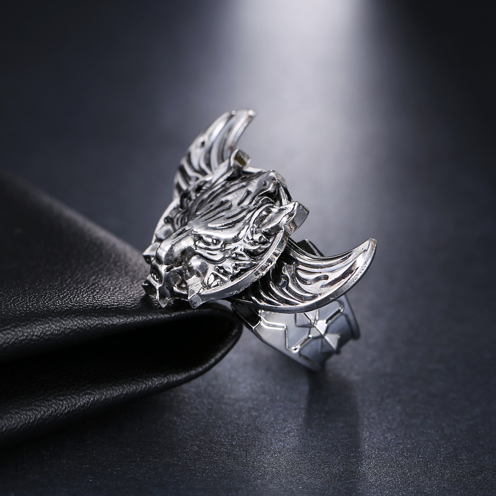 angel img adjustable shiny rings products silver allergy free ring original wings in feather thumbnail