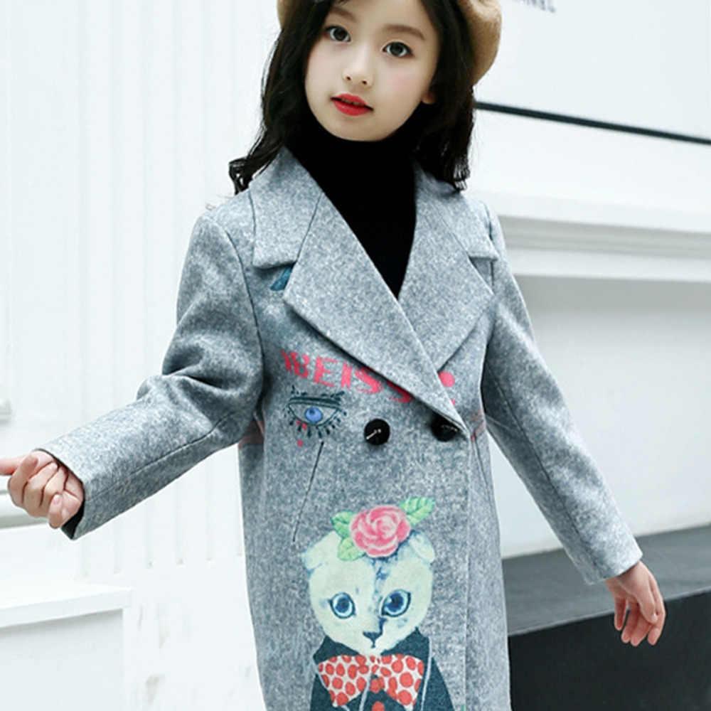 e24020601 ... Niñas abrigos Wooled Chaquetas niños adolescentes belleza chica patrón  largo ropa poco moda ropa niña ...