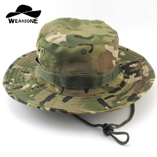 e56672616a0 Camouflage Boonie Bucket Hats Camo Fisherman Hats With Wide Brim Sun  Fishing Bucket Hat