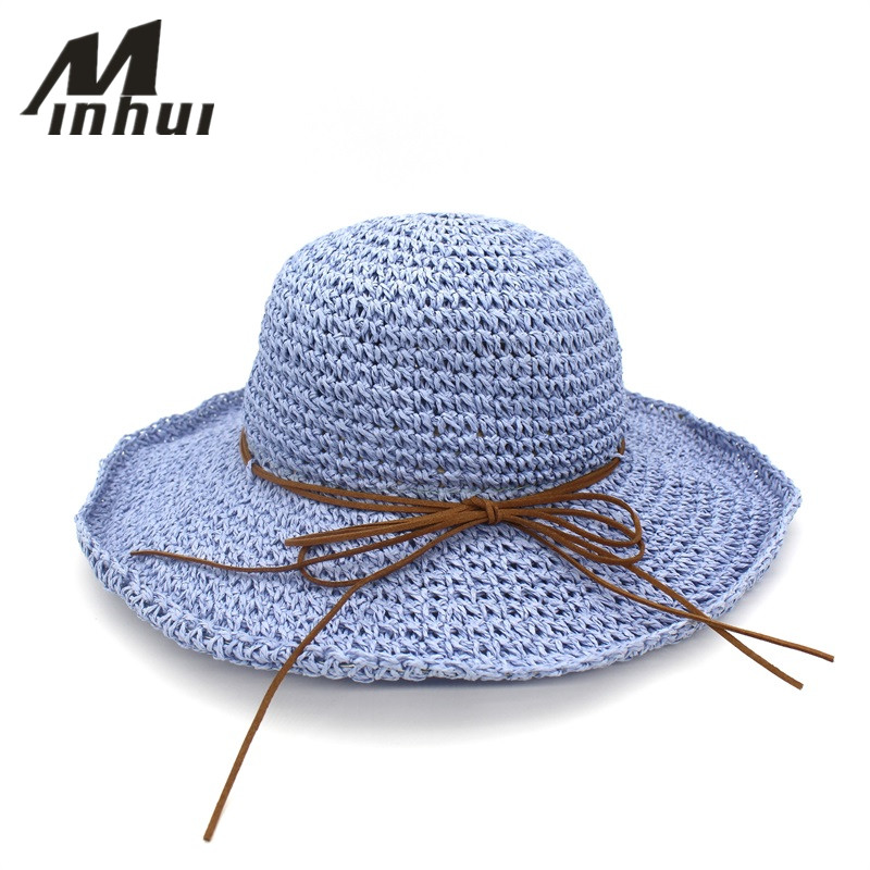Minhui Bowknot Straw Hats For Women Summer Beach Fashion Sun Hat Floppy Wide Brim Foldable Panama Chapeau Femme Wide Brim Hat