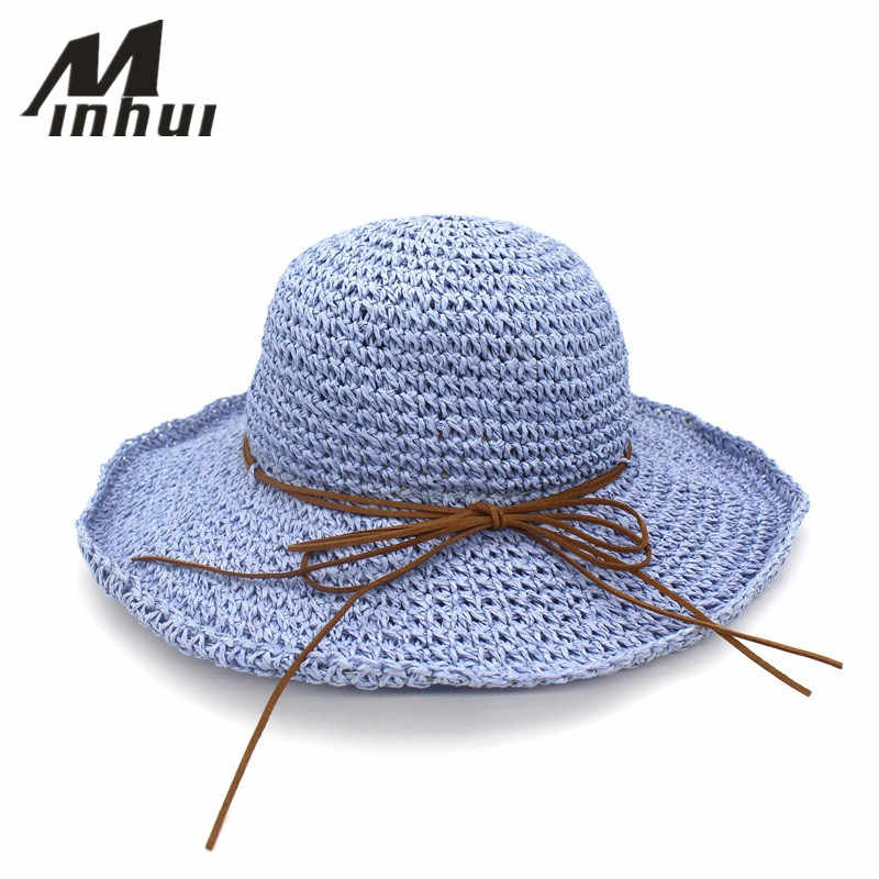 09e56a2c4 Minhui Bowknot Straw Hats for Women Summer Beach Fashion Sun Hat Floppy  Wide Brim Foldable Panama