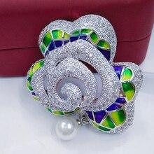 Enamel Floral Brooch Charming Women Jewelry Bridal Bouquet Flower Pattern Brooch Pin Luxury Crystal Bijoux Women Wedding Broches