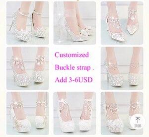Image 4 - クリスタルの靴シンデレラ女性のためのイブニングパーティーきらめくラウンドつま先カスタムシルバーラインストーンウェディングポンプサイズ 9