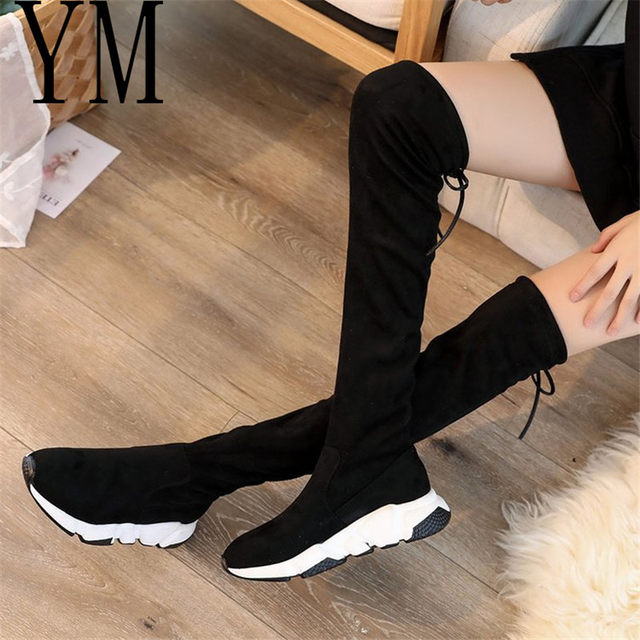 2018 Flock New High Heel Lady Casual black/Red Women Sneakers Leisure Platform Shoes Breathable Height Increasing Shoes 44