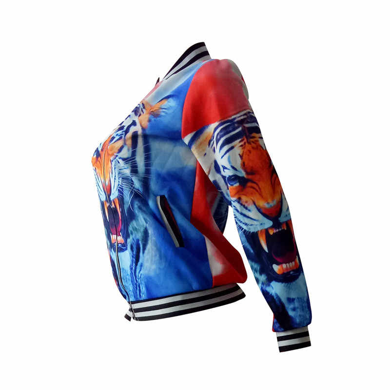 Mujeres Tiger imprimir Basic chaqueta otoño manga larga bombardero chaqueta casual chaqueta de béisbol streetwear Outwear sukajan