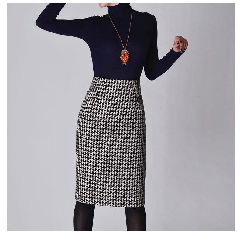 New 2019 Spring Autumn Winter Skirts Women High Waist Woolen Skirt Mid Long Houndstooth Skirt Slim Pencil Skirts Female