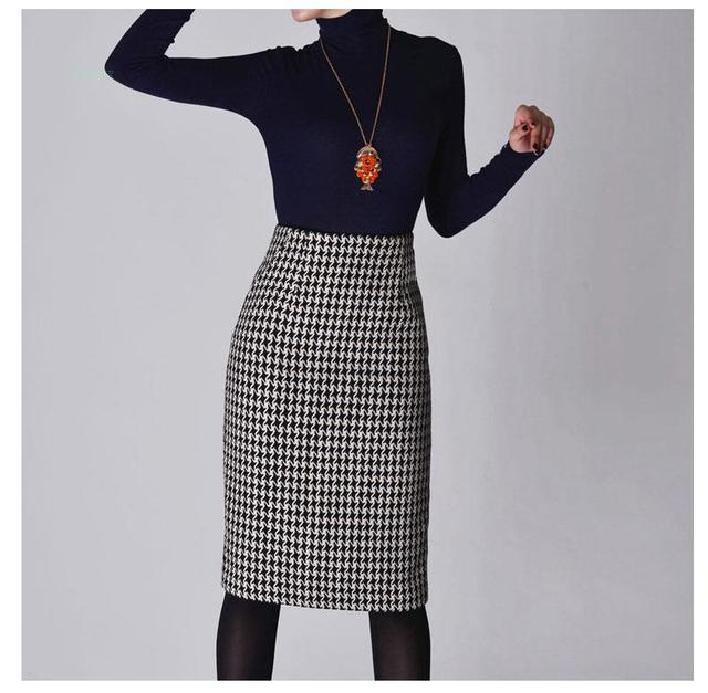 6c278439fae New 2019 Spring Autumn Winter Skirts Women High Waist Woolen Skirt Mid Long  Houndstooth Skirt Slim Pencil Skirts Female
