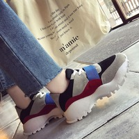 2018 spring new fashion round head wedge with color suede tie with breathable lace ladies shoes.