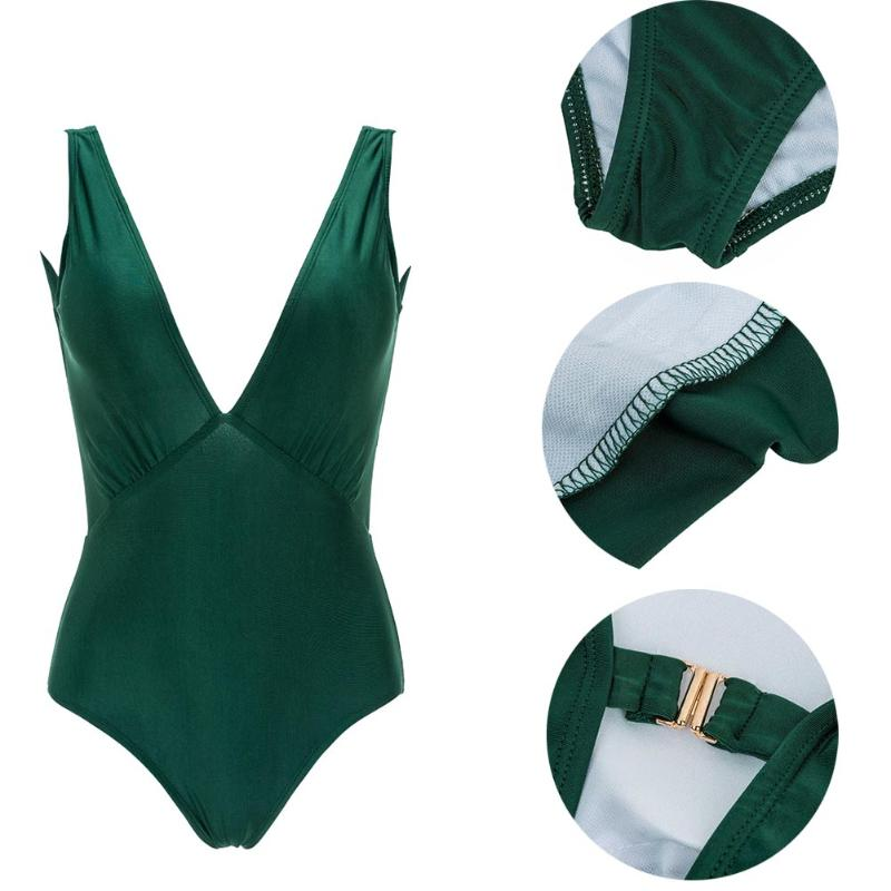 New Sexy Women One-Piece Green Swimsuit Bikini Push-up Padded Backless Bathing Suit swimwear Beachwear Bikini women one piece triangle swimsuit cover up sexy v neck strappy swimwear dot dress pleated skirt large size bathing suit 2017